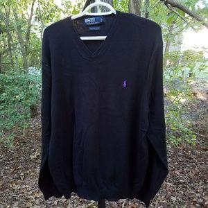 Polo by Ralph Lauren Black Sweater w Purple Logo M
